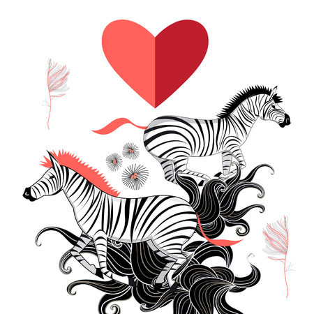 Beautiful vector graphic pattern of the lovers of zebras
