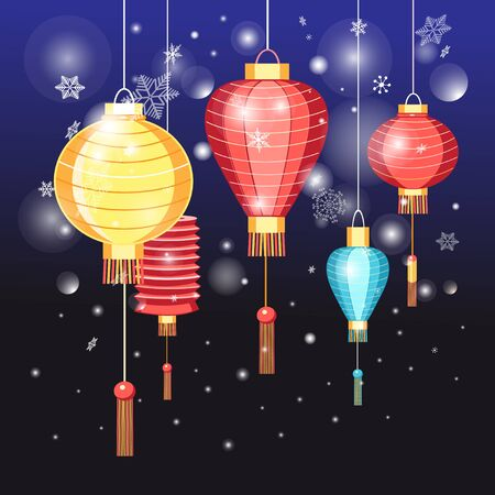 chinatown: Beautiful vector illustration Chinese red lanterns holidays