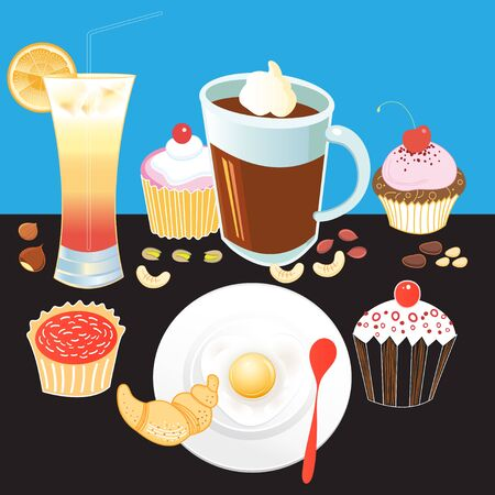 chinesse: Beautiful vector illustration tasty breakfast tourist coffee, pastries, scrambled eggs croissant, juice