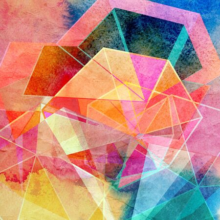 reiteration: Abstract watercolor background with colorful geometric elements