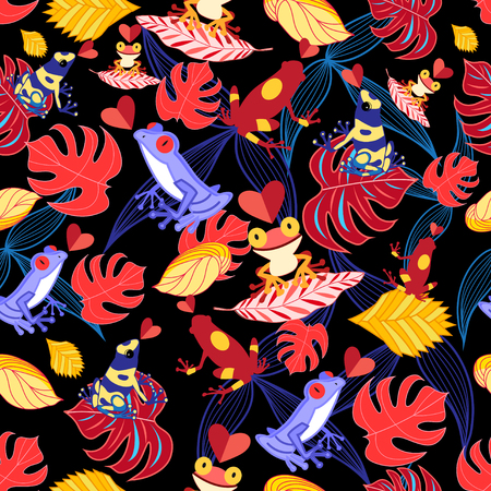 garden of eden: bright seamless pattern with lovers of frogs and leaves on a black background Illustration