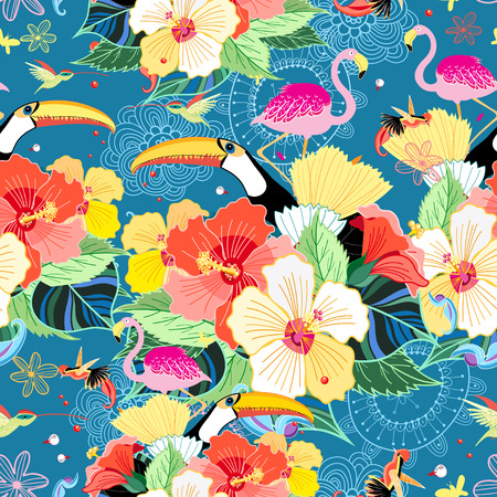 garden of eden: bright seamless tropical pattern with flowers and birds on a blue background Illustration