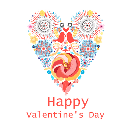 valentine s day: Floral heart of flowers. Valentine s day card, herbs and flowers. Valentine s Day greeting card template. Flowers in the shape of a heart.