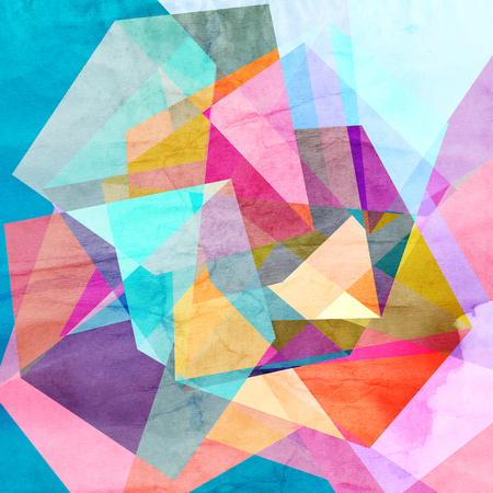 幾何学的形状と明るいカラフルな水彩背景