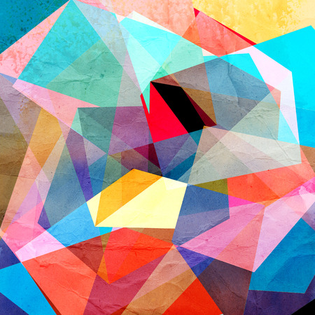 기하학적 인 도형과 밝은 다채로운 수채화 배경 스톡 콘텐츠