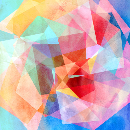 reiteration: Bright colorful watercolor background with geometric shapes