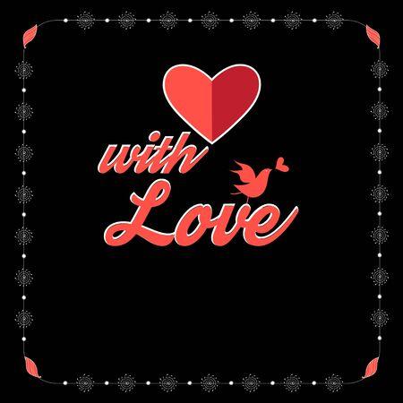 Hermosa ilustración vectorial con el corazón rojo para los amantes