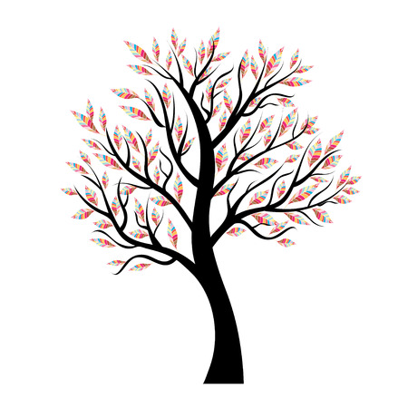 unmarried: Stylized vector tree with colorful leaves. design element Illustration