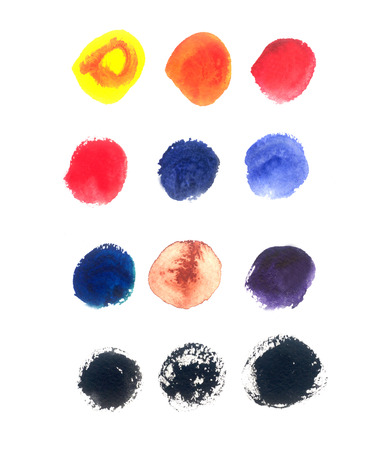 sully: Colorful set of round watercolor stains on white background