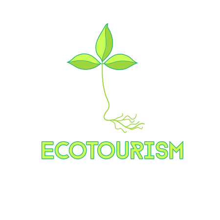 turismo ecologico: signo hermoso deja un signo sobre un fondo negro. Símbolo, logotipo de la edición, creativo