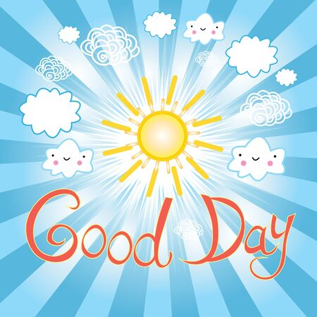sunray: illustration of Sunny day on the background of sunlight and white clouds. Illustration