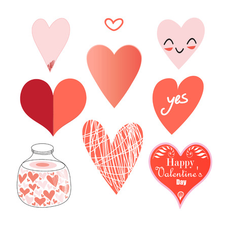 cordially: Graphic set of hearts on a white background. Vector illustration of hearts patterns.
