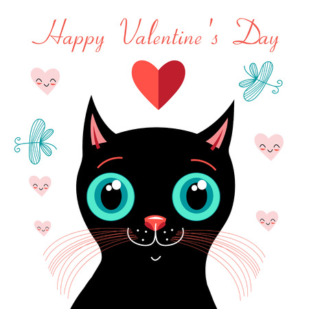cordially: graphics funny love with a kitten on a white background Illustration