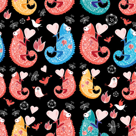 reproduce: graphic beautiful pattern love the chameleon on a black background Illustration