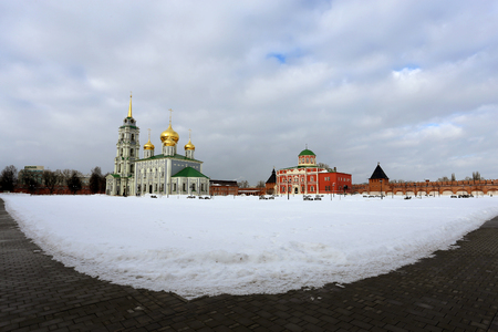 assumption: Beautiful Cathedral of the Assumption in the city of Tula Stock Photo