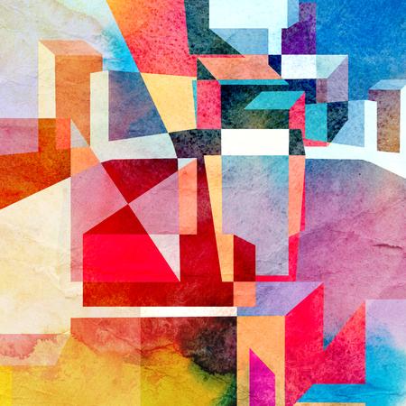 カラフルな幾何学の要素を持つ抽象的な水彩背景
