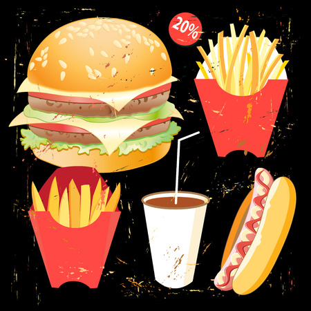 french board: Bright cover for fast food menu - hamburger on a bllack background