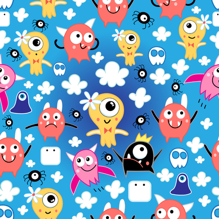 marguerite: seamless pattern bright fun little monsters in the clouds on a blue background Illustration