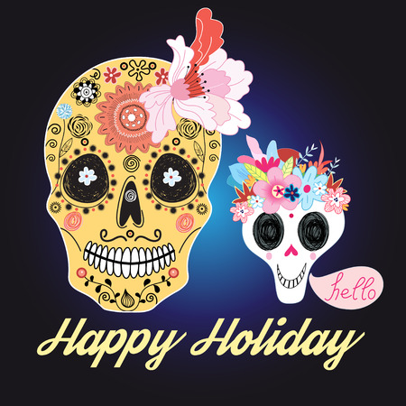 all saint day: Beautiful vector illustration of skulls with patterns and flowers greeting card with the holiday of Halloween
