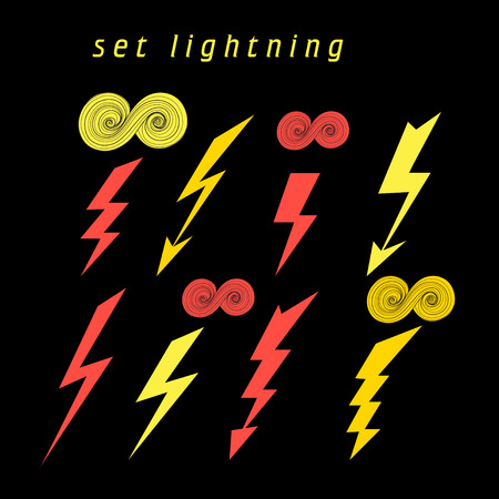 zapping: Set of beautiful vector illustration of lightning on a black background