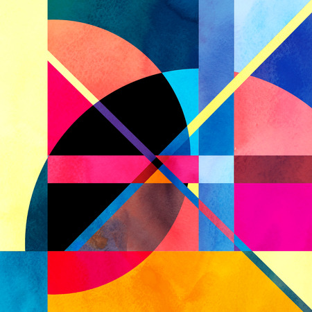 fine art: Watercolor abstract colorful background with fantastic elements. Background for design template.