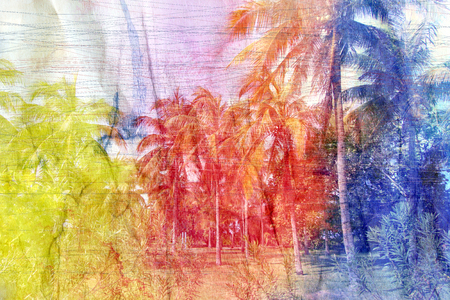 island paradise: Retro watercolor tropical palms on the island paradise. Aged vintage photo of palm trees