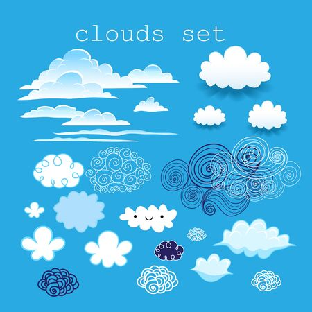 set of different clouds in the sky on a blue sky background Illustration