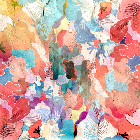 reiteration: watercolor vintage retro background with various interesting elements