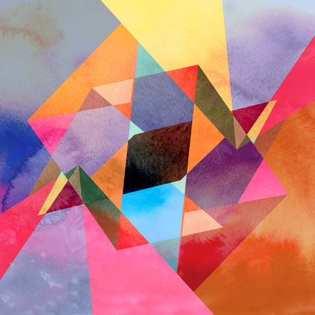 reiteration: Abstract watercolor background with colorful geometry elements