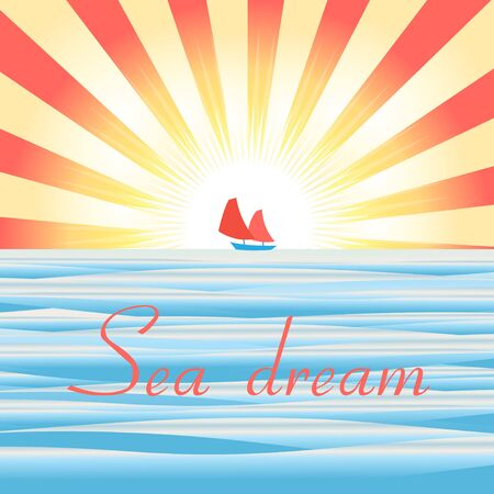 tropical beach panoramic: Beautiful vector illustration of sea landscape with ship and sun rays Illustration
