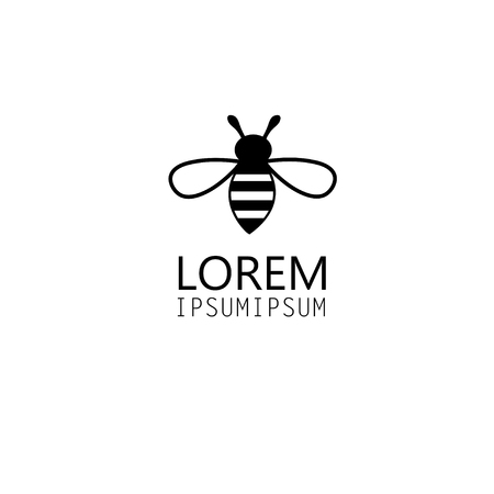 vector graphics icon bee isolated on white background