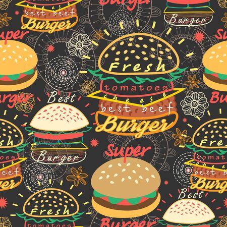 foodstuffs: Graphic seamless pattern bright tasty burgers on a dark background Illustration
