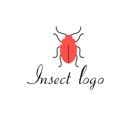 entomologist: graphics icon red beetle isolated on white background Illustration