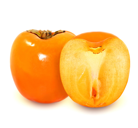 instance: photo of a bright sweet persimmon isolated on white background