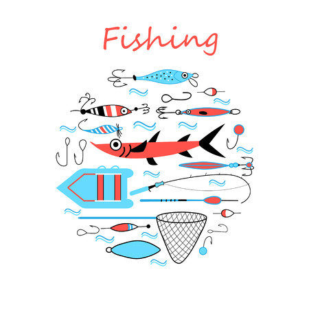 fishing tackle: Collection of various fishing gear, made in a modern style lines. Float, fishing tackle, floating, rod, boat and gear of another fisherman. collection of fishing tackle