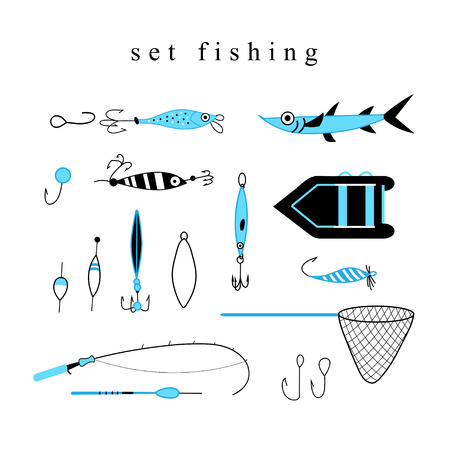 tackle: Collection of various fishing gear, made in a modern style lines. Float, fishing tackle, floating, rod, boat and gear of another fisherman. collection of fishing tackle