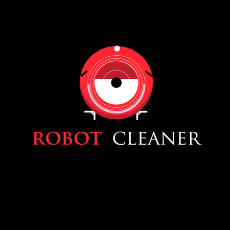 self contained: graphic representation of the symbol of the robot cleaner on a black background Illustration