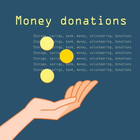 guarantor: Hand with coins for charity on a dark background