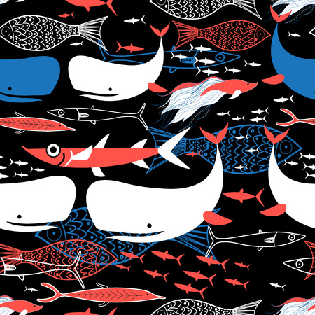 Graphic seamless pattern of bright fish on a black background