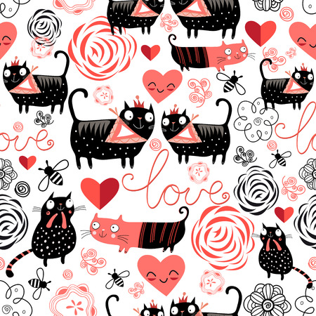 Beautiful seamless graphic pattern of funny cats lovers