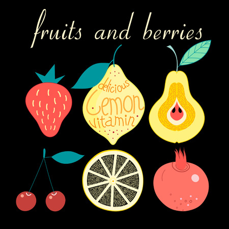 halftones: Graphic set of various fruits and berries on a dark background. Vector illustration