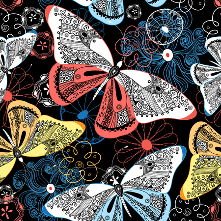 sample environment: Lovely graphic pattern fancy butterflies on a dark background Illustration