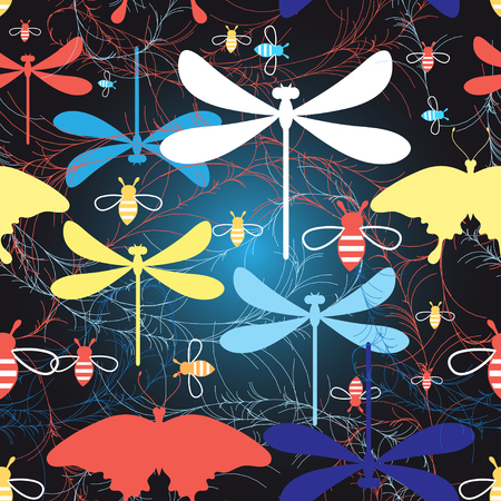 sample environment: Beautiful graphic pattern different insects against a dark background