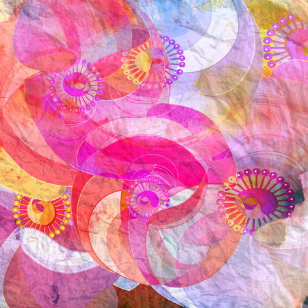 reiteration: watercolor abstract background with floral colored elements