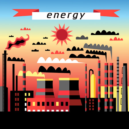 thermal power plant: Graphic image plant and thermal power plant at sunse