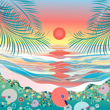 beach sunset: Beautiful bright sea vector beach seascape sunset Illustration