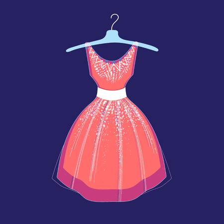intent: illustration of fashionable dress on a blue background