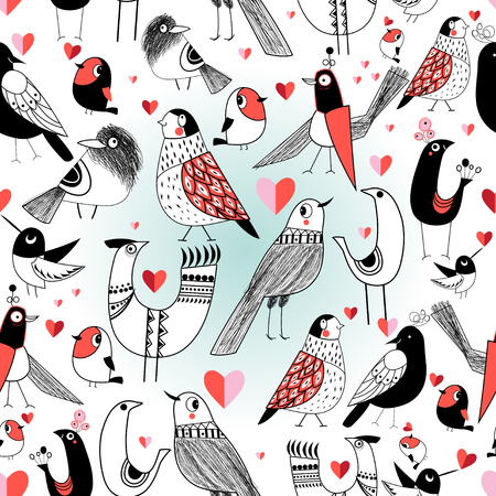 Seamless graphic pattern in love birds on a white background