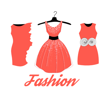red dress: fashionable red dress isolated on white background Illustration