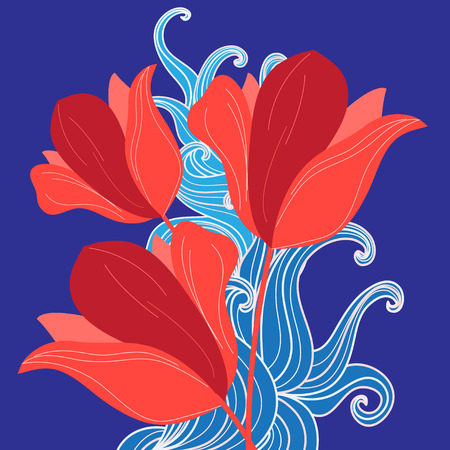 red tulips: Graphic bouquet of red tulips on a blue background